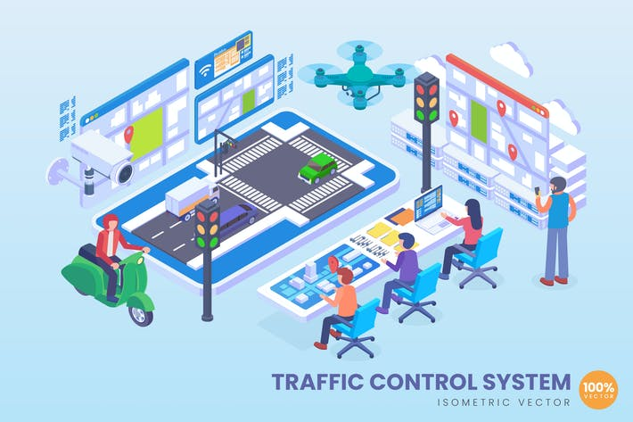 Thumbnail for Isometric Traffic Control System Vector Concept