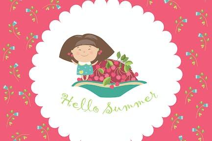 Linda chica y cuenco de cerezas. Hola verano