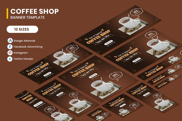 Thumbnail for Coffee Shop Google Adwords Banner Vorlage