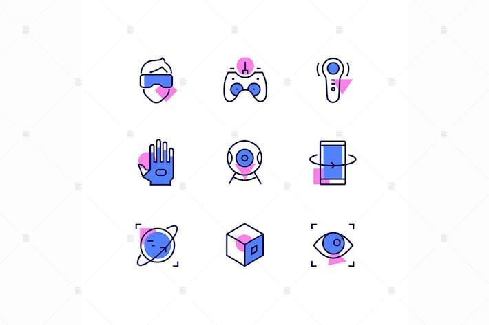 Thumbnail for Virtual reality - line design style icons set