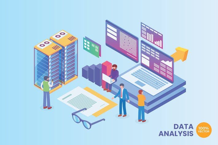 Thumbnail for Isometric Data Analysis Technology Vector Concept