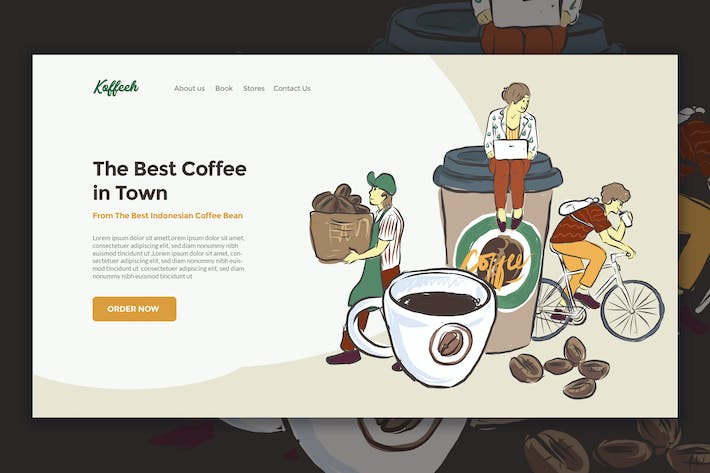 Thumbnail for Coffee Business Landing Page Illustration
