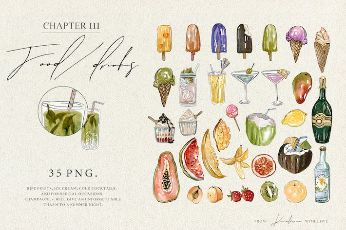 Thumbnail for Summer food - watercolor illustrations set