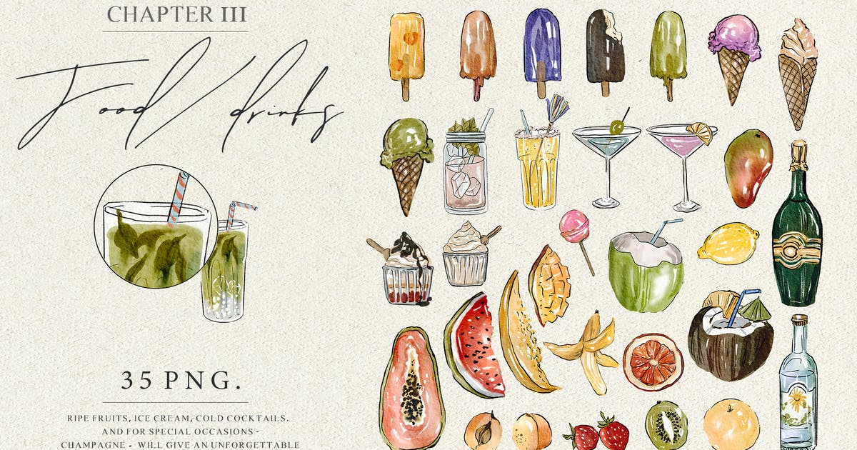 Download Summer food - watercolor illustrations set by kaleriia