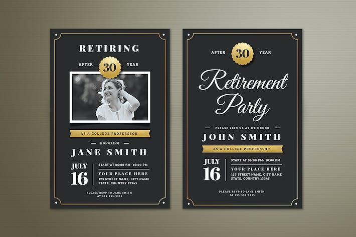 Thumbnail for Gold Retirement Invitation Flyer Templates