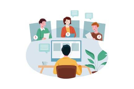 Mitarbeiter, die an Online-Meetings teilnehmen