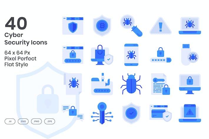 Thumbnail for 40 Íconos de seguridad cibernética conjunto - Flat