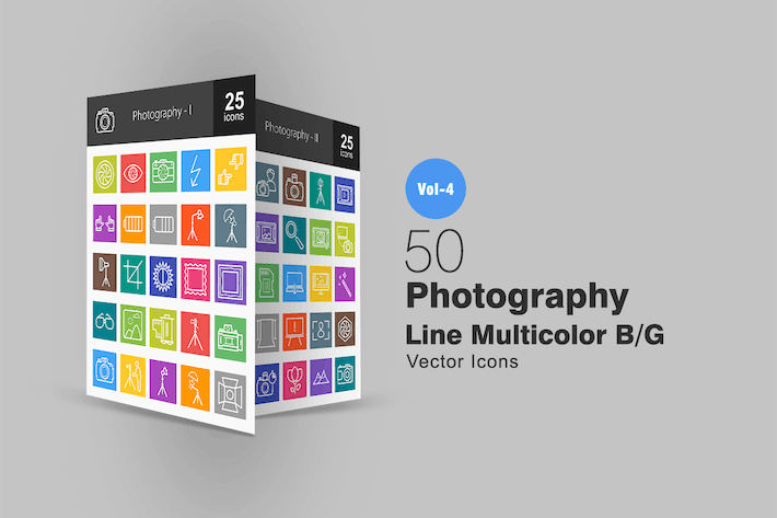 Thumbnail for 50 Photography Line Multicolor Icons