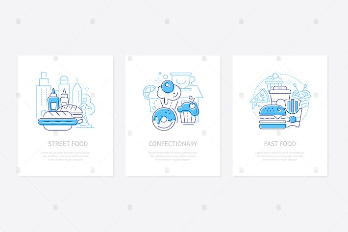 Thumbnail for Street and fast food - line design style banners