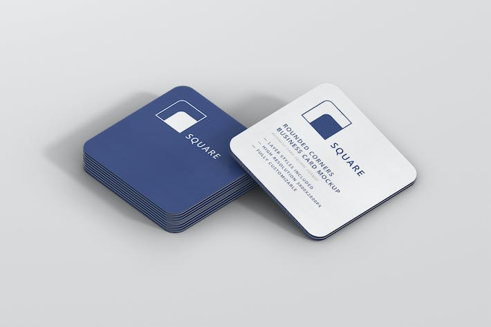 Thumbnail for Business Card Mockup Stack Square Round Corners