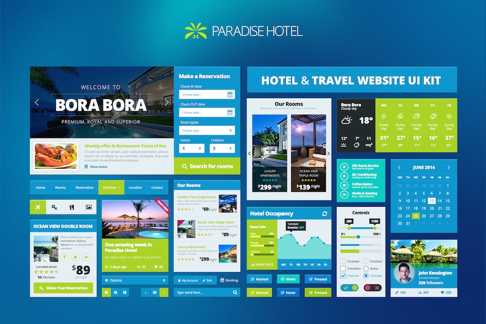 Download Hotel/Travel Booking Website UI Kit - Part 1 by creakits