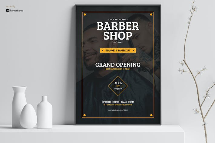 Thumbnail for Shave - Grand Opening Barbershop Poster