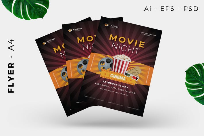 Thumbnail for Movie Night Event Flyer Design