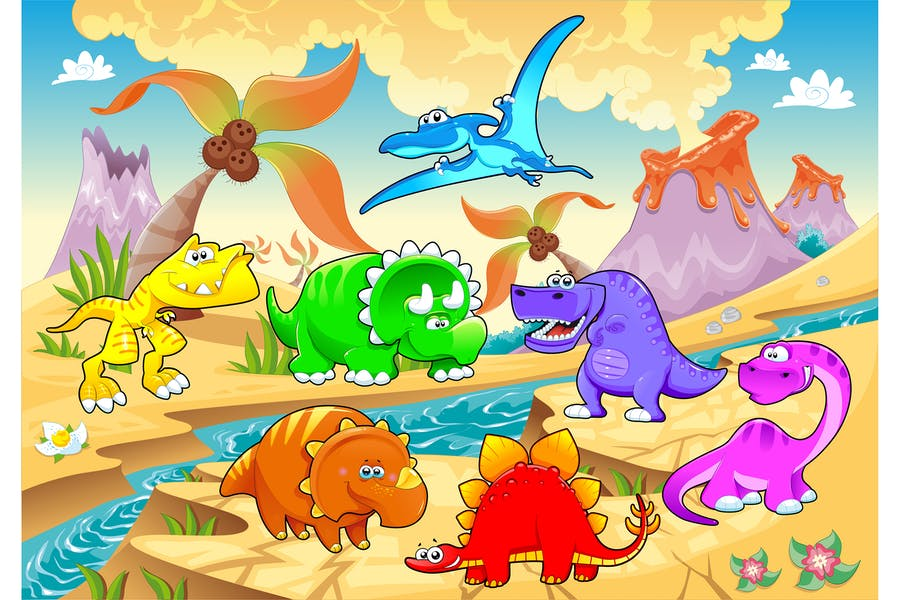 Динозавры в ландшафте