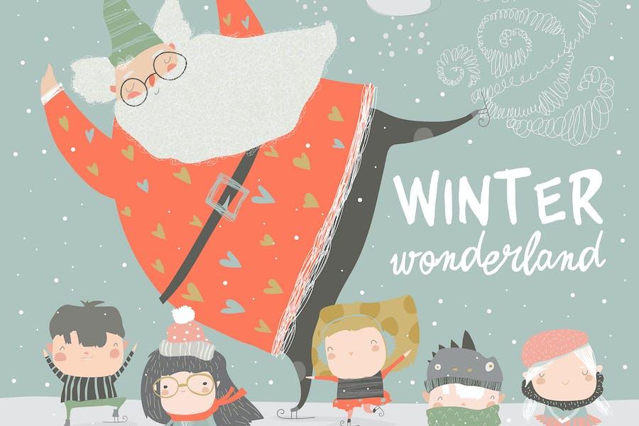Divertido patinaje de Santa Claus con niños lindos. Vector