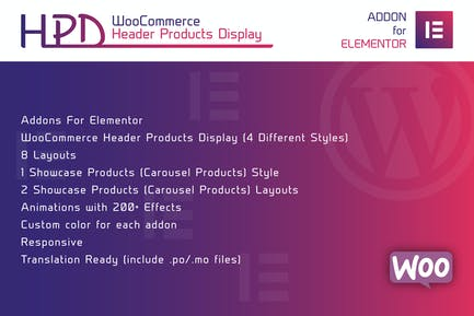 WooCommerce Header Products Display for Elementor