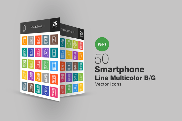 Thumbnail for 50 Smartphone Line Multicolor B/G Icons