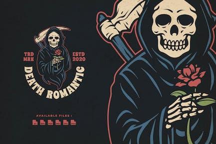 Death Romantic Hand Drawn Badge Logo