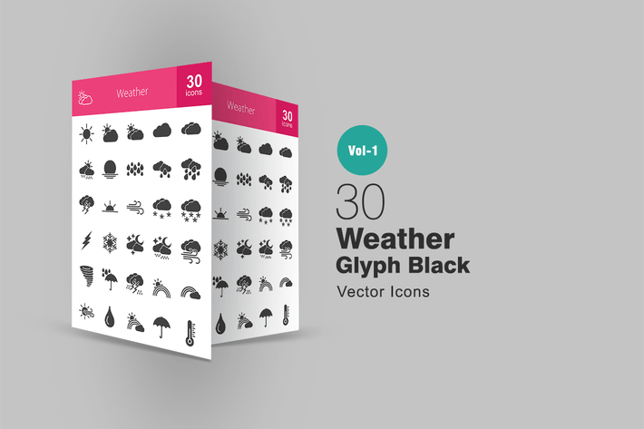 Thumbnail for 30 Weather Glyph Icons