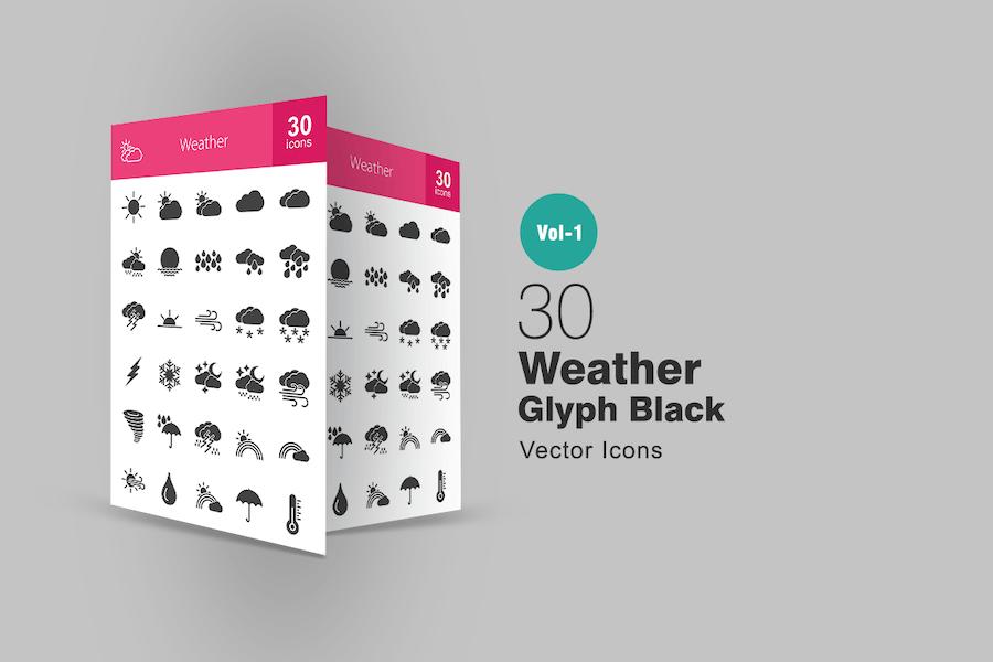30 Wetterglyphe Icons