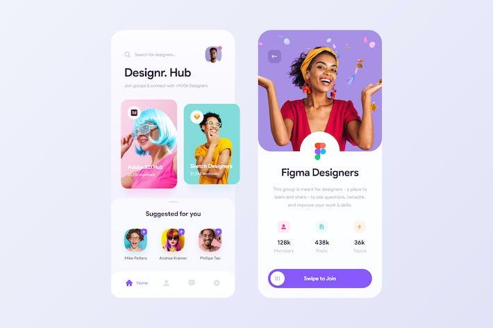 Thumbnail for Designer Hub App UI Concept