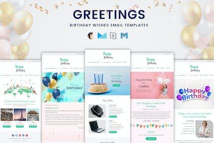 Salutations - Bundle de modèles d'e-mail de vœux d'anniversaire