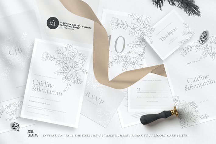 Thumbnail for Modern Sketch Floral Wedding Suite