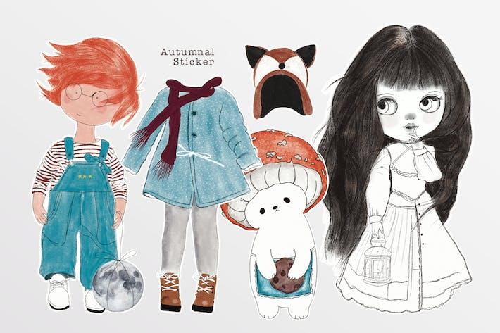 Illustration - Herbstliche Aufkleber