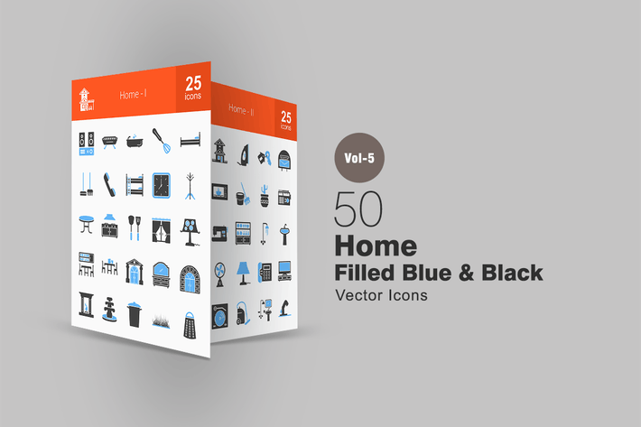 Thumbnail for 50 Home Blue & Black Icons