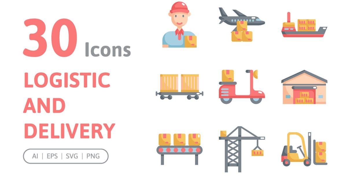 Download 30 Logistic and Delivery Icons by konkapp