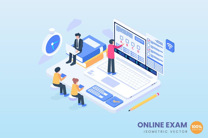 Online Exam Concept Illustration
