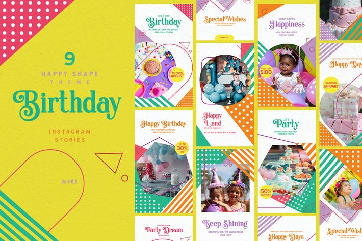 Thumbnail for Happy Shape Theme - Birthday Instagram Stories