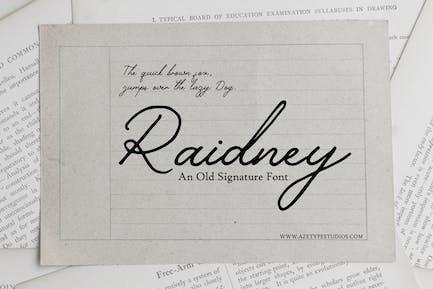 Raidney - An Old Signature Font