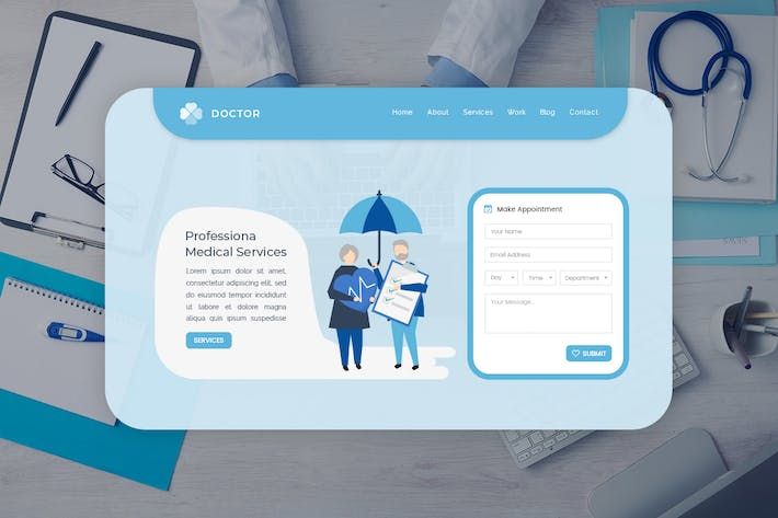 Thumbnail for Doctor - Hero Banner Web Page Template