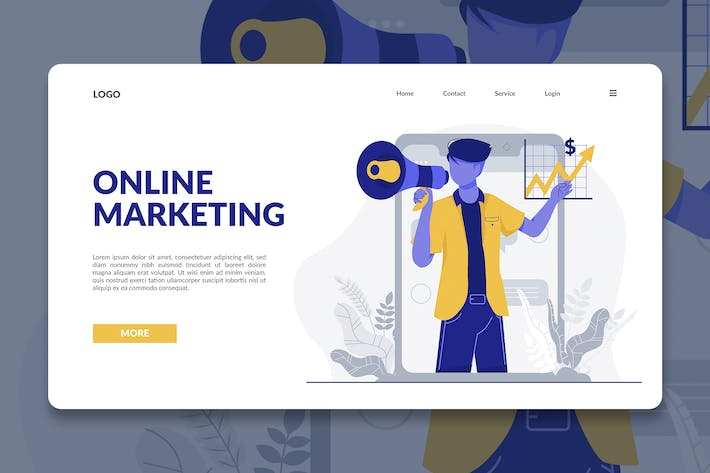 Thumbnail for Online Marketing Modern Illustration Landing Page