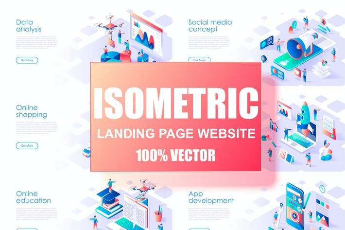 Thumbnail for Isometric Flat Design Concept Landing Page