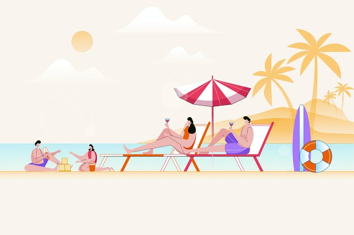 Thumbnail for Happy Family Summer Vacation - Vector Illustration