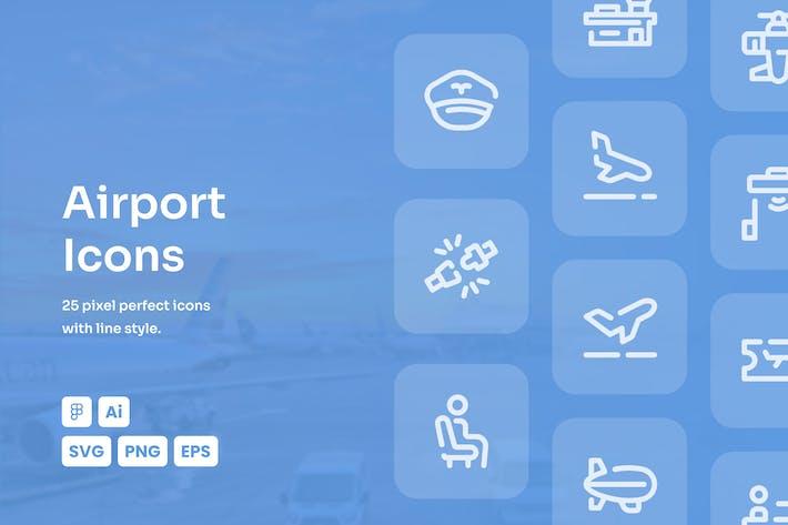 Flughafen-gestrichelte Linie Icons