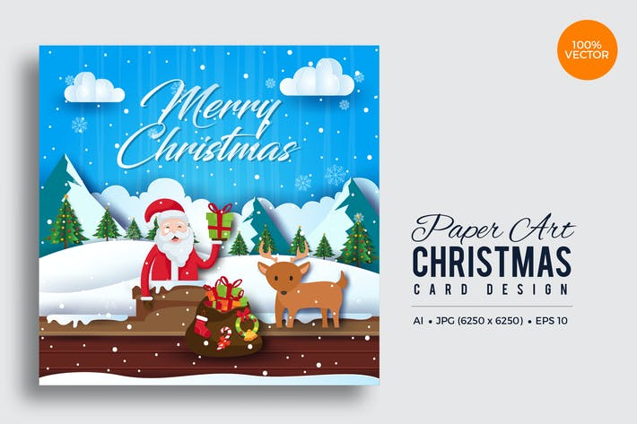 Thumbnail For Merry Christmas Square Vector Card Vol15