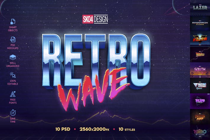 Thumbnail for 80s Retro Text Effects vol.1