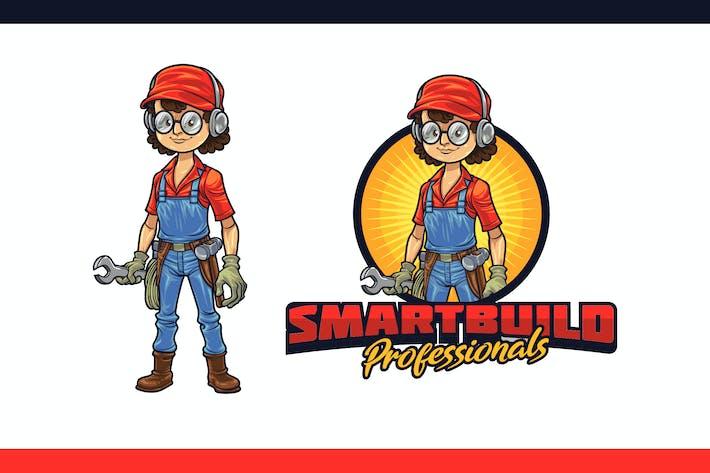 Thumbnail for Logo de personnage de mascotte Geek Builder