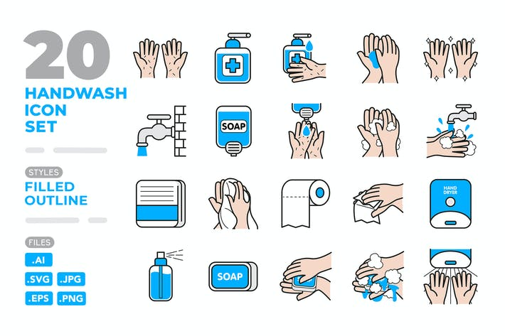 Thumbnail for Handwash Icon Set (Filled Outline)