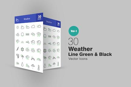 30 Weather Line Grün & Schwarz Icons