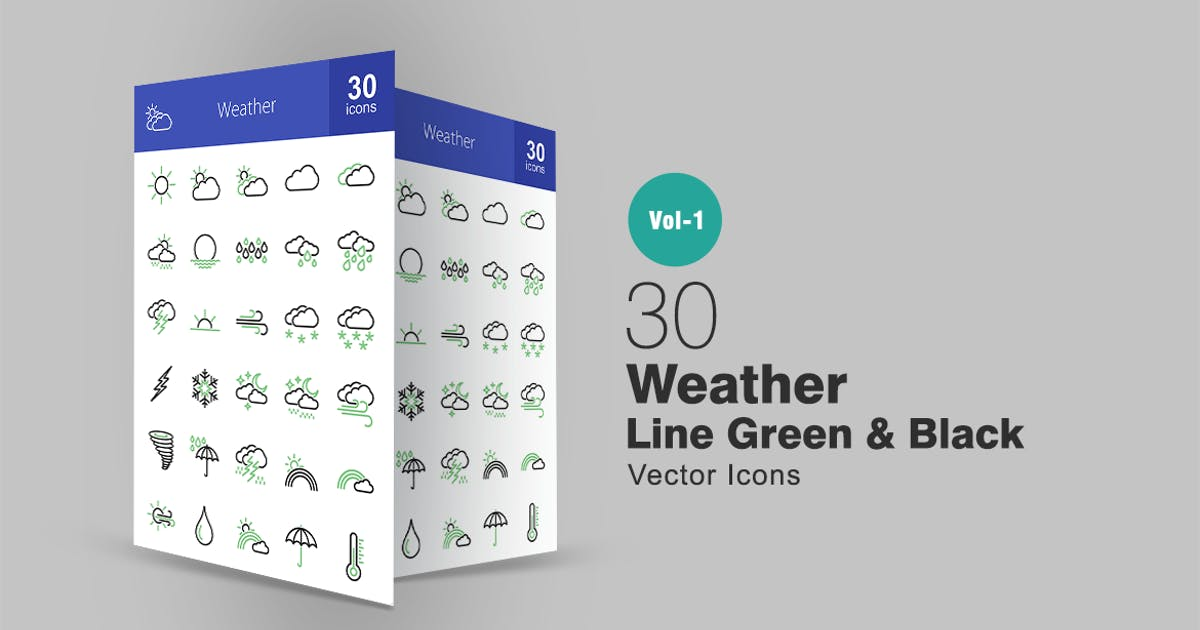 Download 30 Weather Line Green & Black Icons by IconBunny
