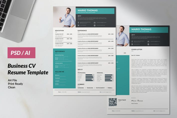 Thumbnail for Professional Resume CV Clean & Minimal Design