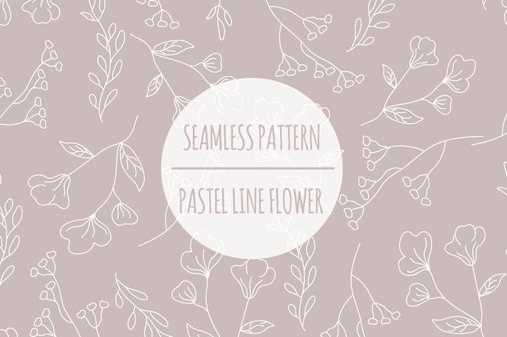 Pastel Line Flower – Seamless Pattern
