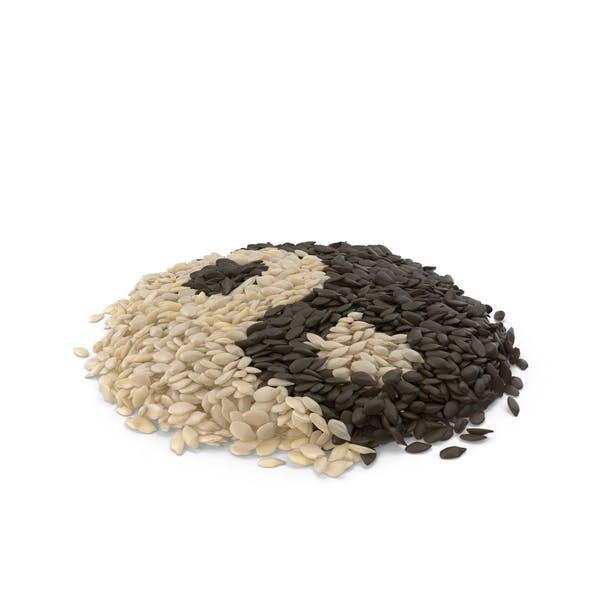 Montón de Semillas Mixtas de Sésamo Yin Yang