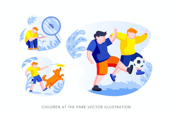 Thumbnail for Children At The Park Vector Character Set
