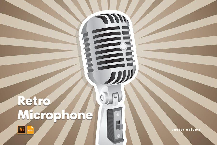 Retro microphone illustrator