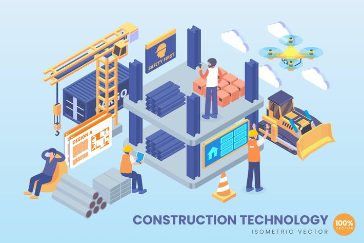 Thumbnail for Isometric Construction Technology Vector Concept